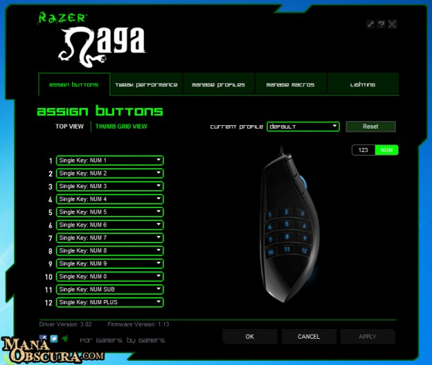 Razer Naga configuration panel